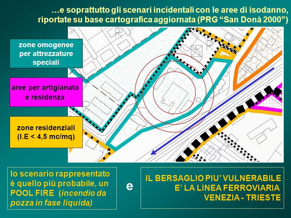 …e soprattutto gli scenari incidentali con le aree di isodanno, riportate su base cartografica aggiornata (PRG San Donà 2000 )