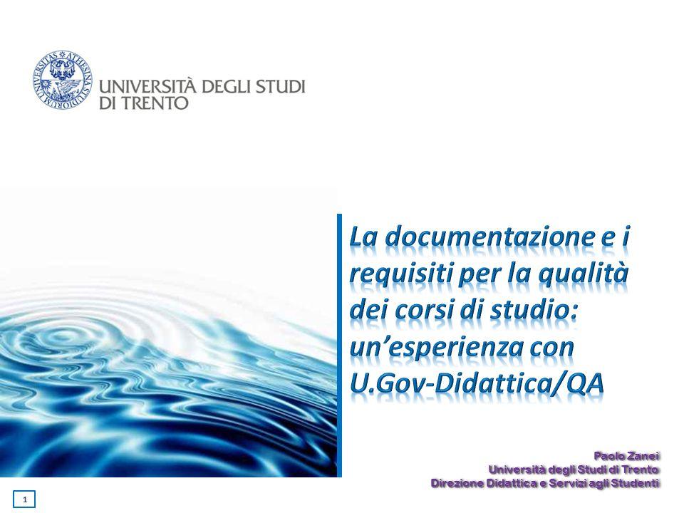 La documentazione e i requisiti per la qualità dei corsi di studio: