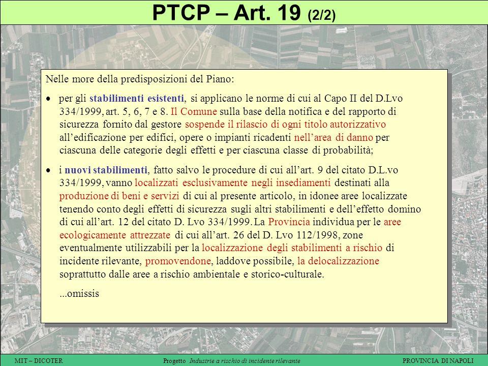 PTCP – Art. 19 (2/2) Nelle more della predisposizioni del Piano: