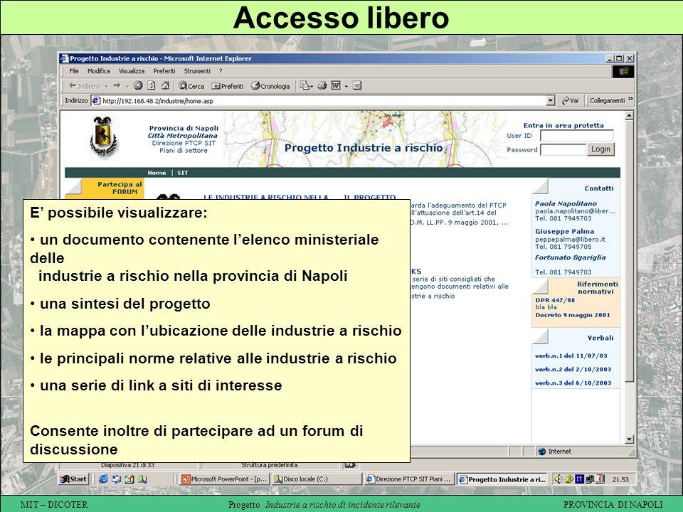 Accesso libero E' possibile visualizzare: