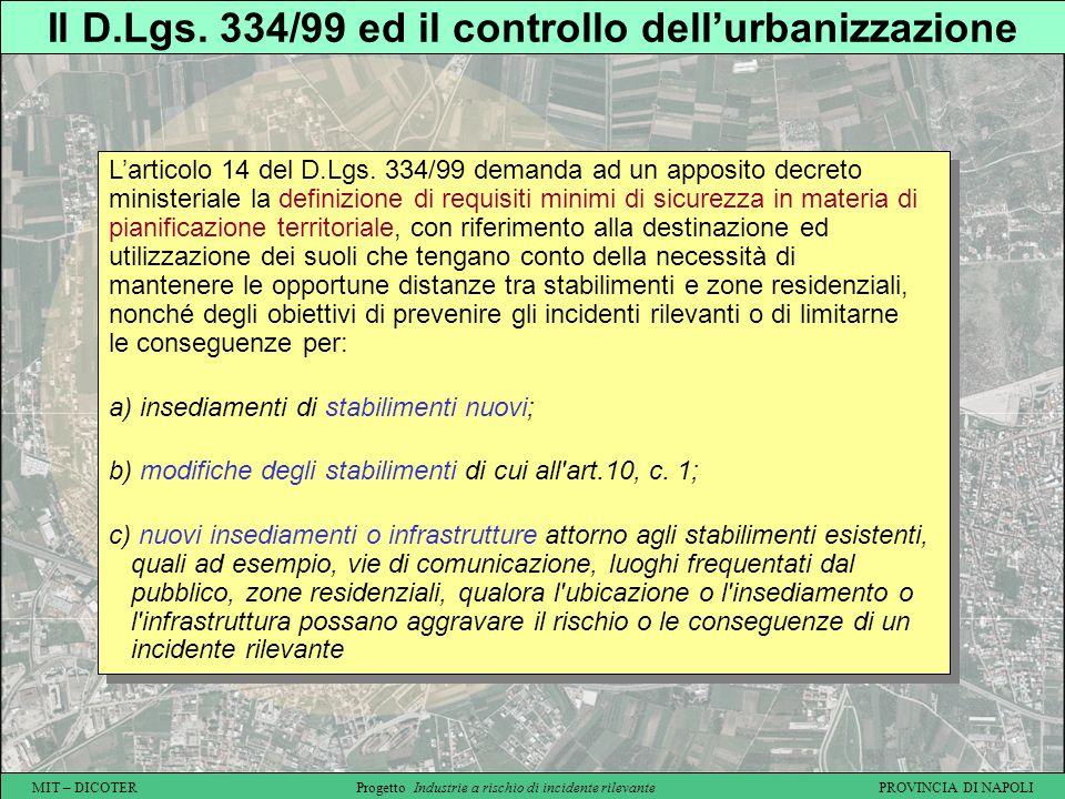 Il D.Lgs. 334/99 ed il controllo dell'urbanizzazione