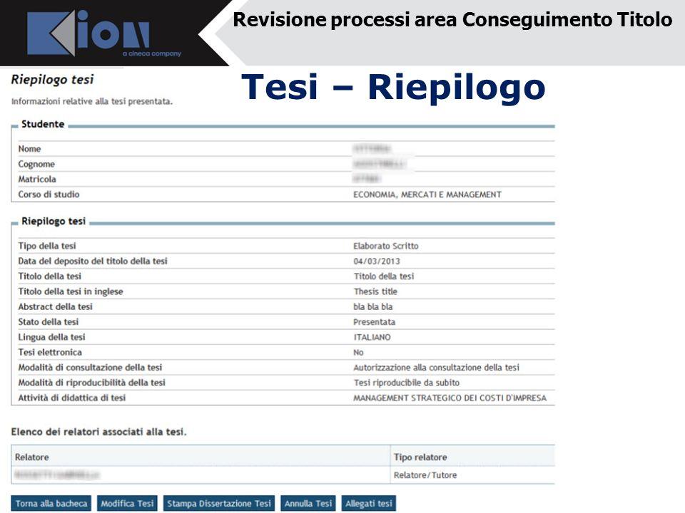 Revisione processi area Conseguimento Titolo