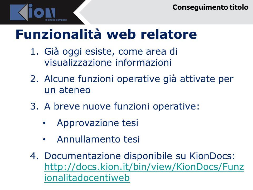 Funzionalità web relatore