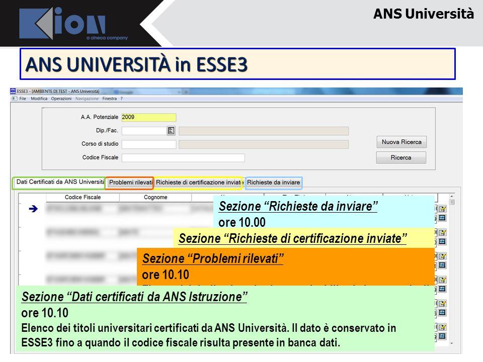ANS UNIVERSITÀ in ESSE3 ANS Università Sezione Richieste da inviare