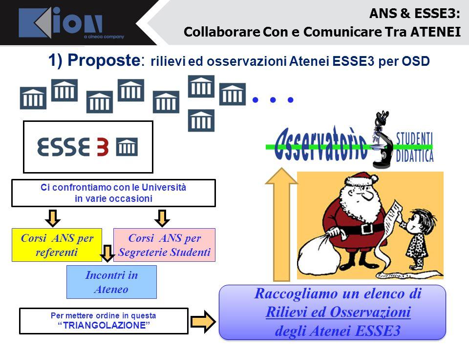 . . . 1) Proposte: rilievi ed osservazioni Atenei ESSE3 per OSD