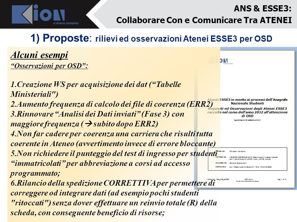 1) Proposte: rilievi ed osservazioni Atenei ESSE3 per OSD