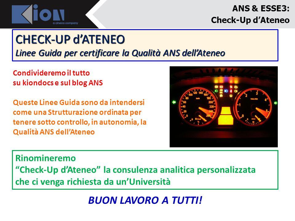 CHECK-UP d'ATENEO BUON LAVORO A TUTTI!