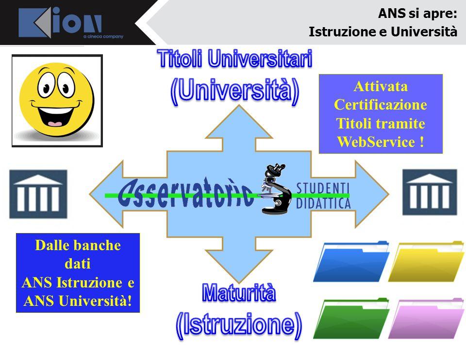Attivata Certificazione Titoli tramite WebService !