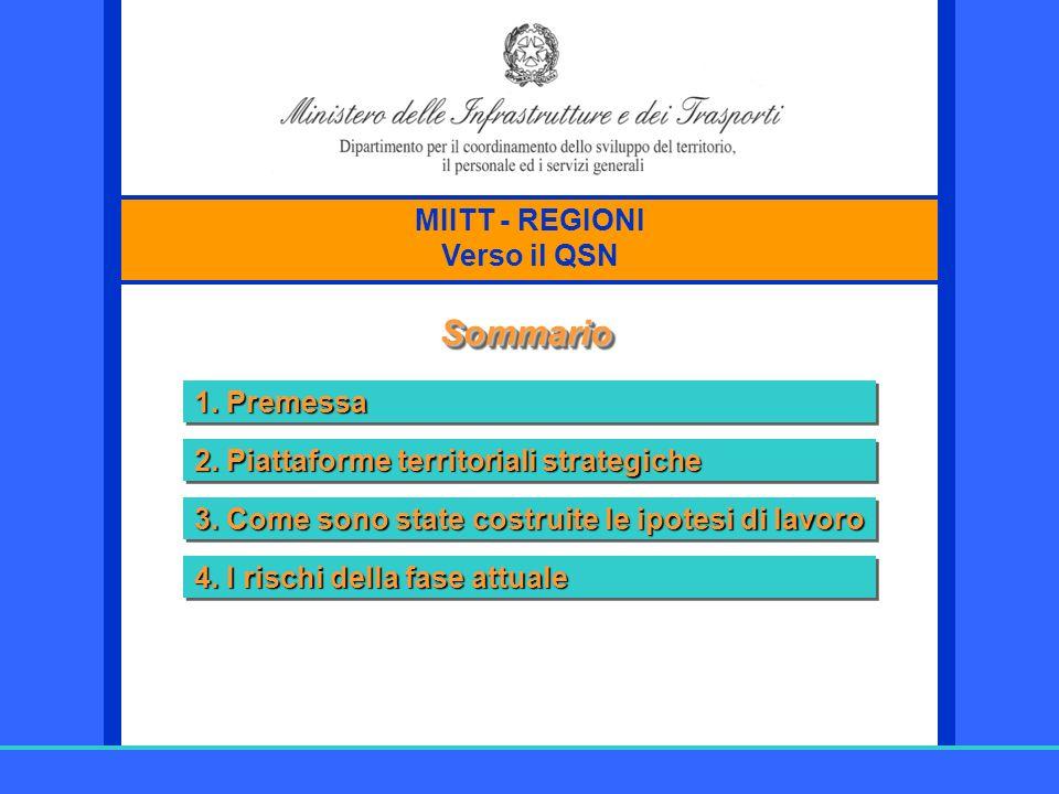 Sommario MIITT - REGIONI Verso il QSN 1. Premessa