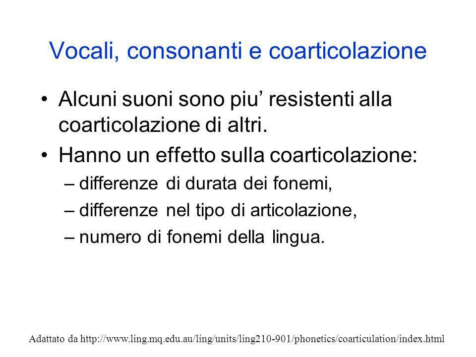 Vocali, consonanti e coarticolazione