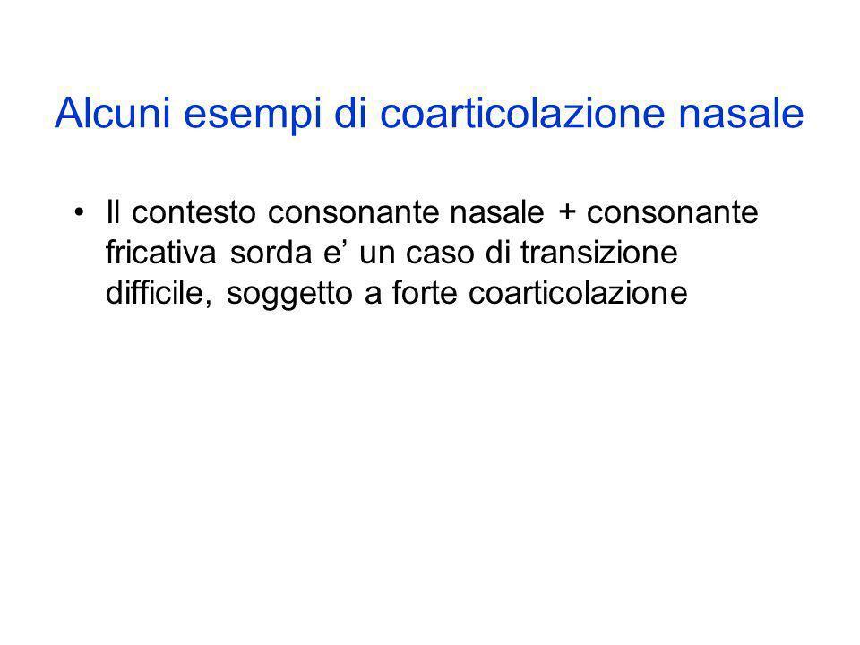 Alcuni esempi di coarticolazione nasale