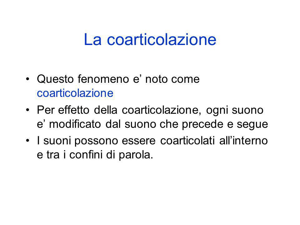 La coarticolazione Questo fenomeno e' noto come coarticolazione