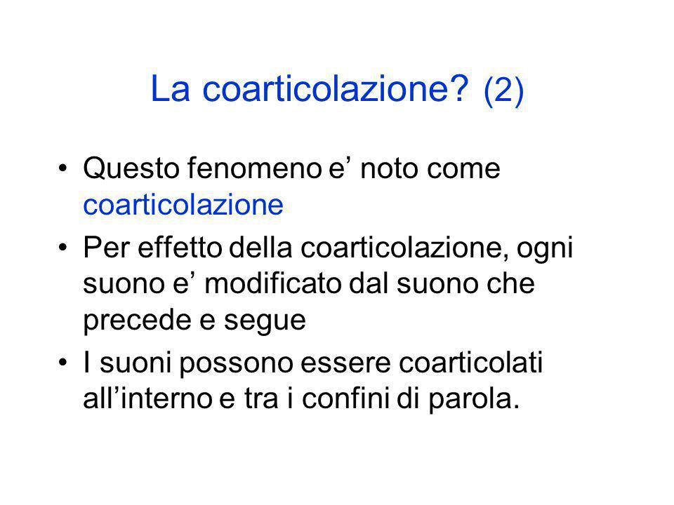 La coarticolazione (2) Questo fenomeno e' noto come coarticolazione