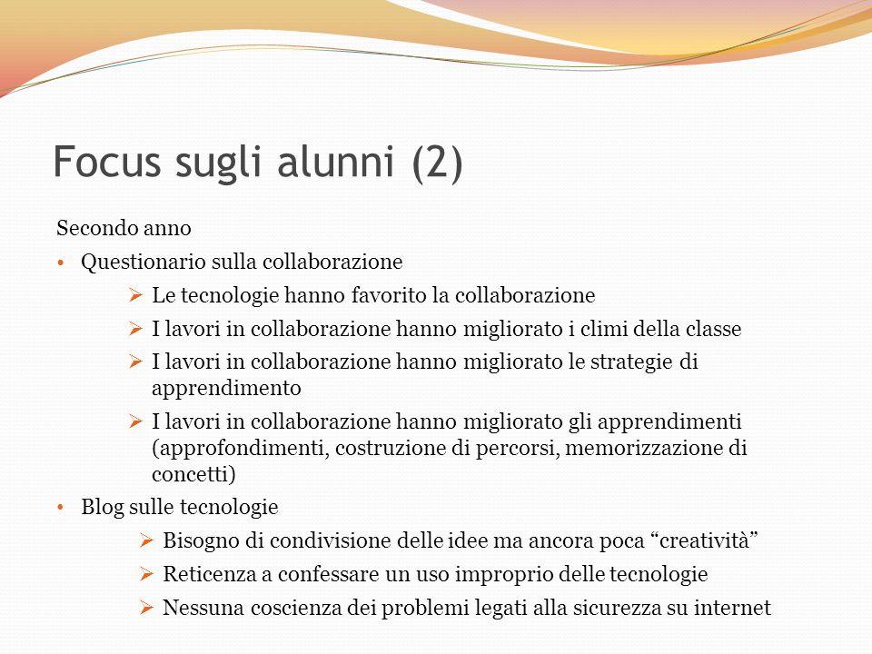 Focus sugli alunni (2) Secondo anno Questionario sulla collaborazione