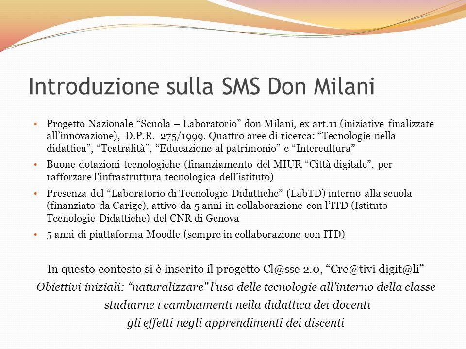 Introduzione sulla SMS Don Milani