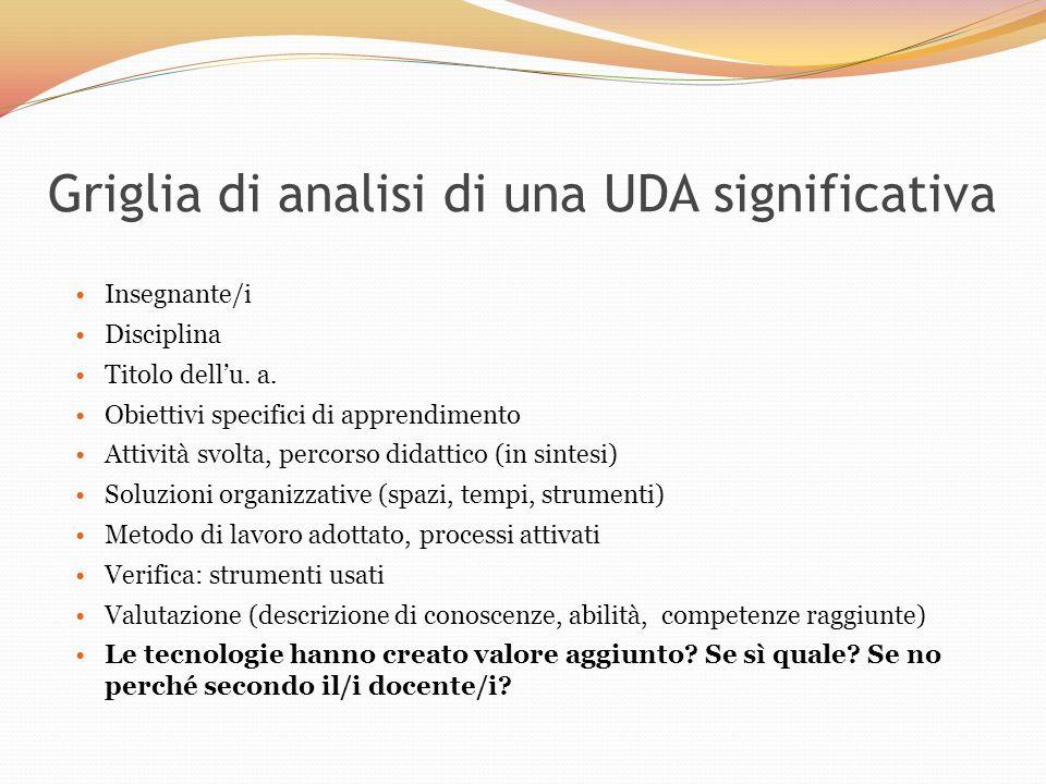 Griglia di analisi di una UDA significativa