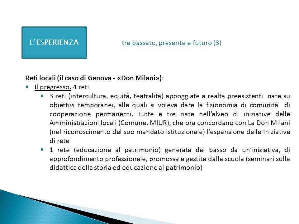 L'ESPERIENZAtra passato, presente e futuro (3) Reti locali (il caso di Genova - «Don Milani»): Il pregresso, 4 reti.