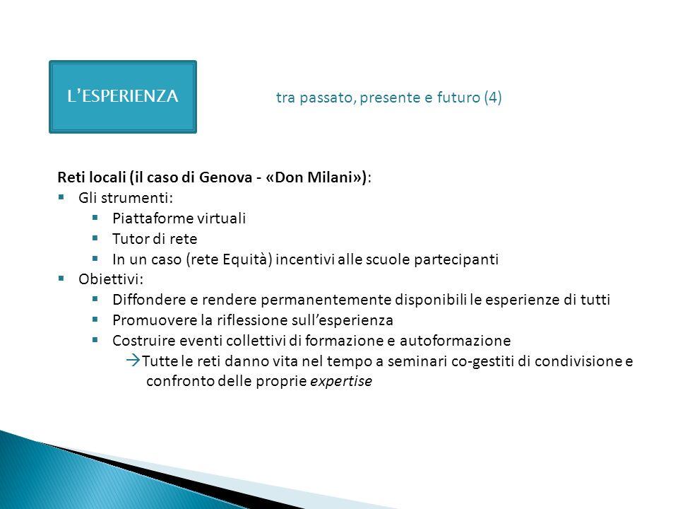 L'ESPERIENZA tra passato, presente e futuro (4) Reti locali (il caso di Genova - «Don Milani»): Gli strumenti: