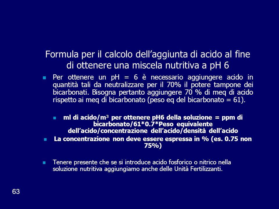La concentrazione non deve essere espressa in % (es. 0.75 non 75%)