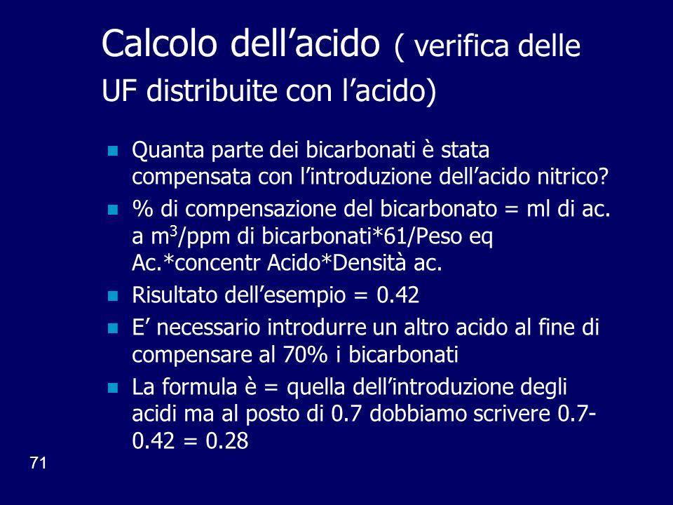 Calcolo dell'acido ( verifica delle UF distribuite con l'acido)