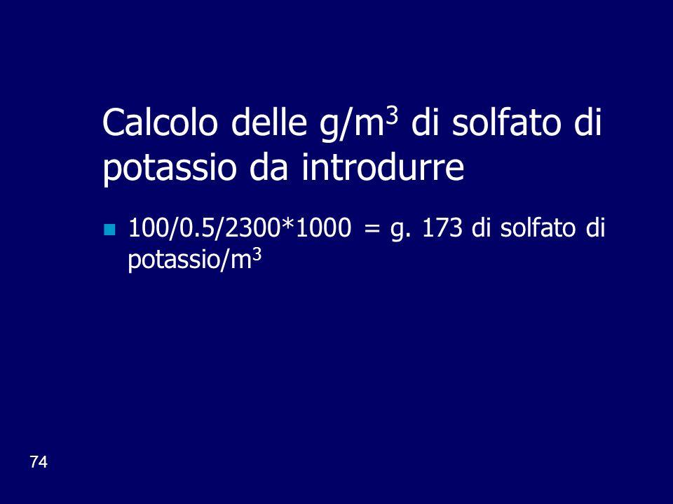 Calcolo delle g/m3 di solfato di potassio da introdurre