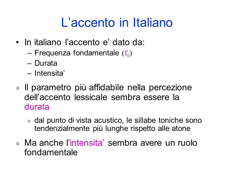 L'accento in Italiano In italiano l'accento e' dato da: