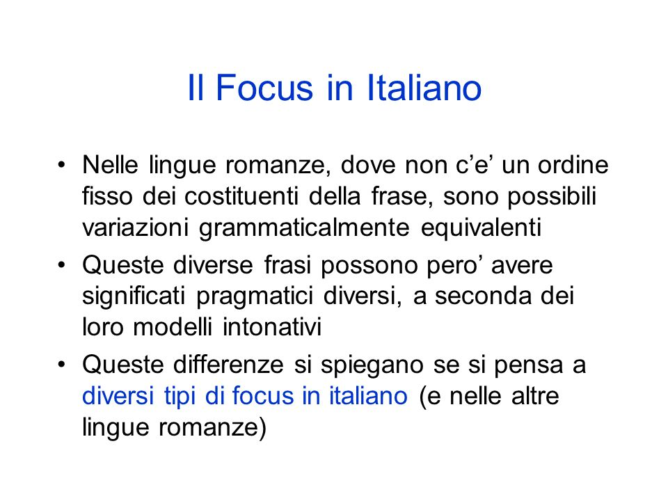 Il Focus in Italiano