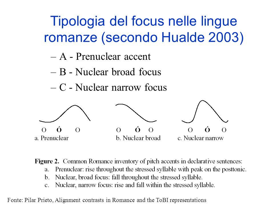 Tipologia del focus nelle lingue romanze (secondo Hualde 2003)