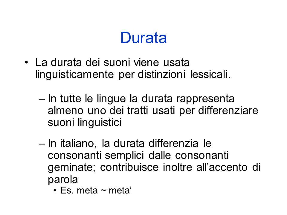 DurataLa durata dei suoni viene usata linguisticamente per distinzioni lessicali.