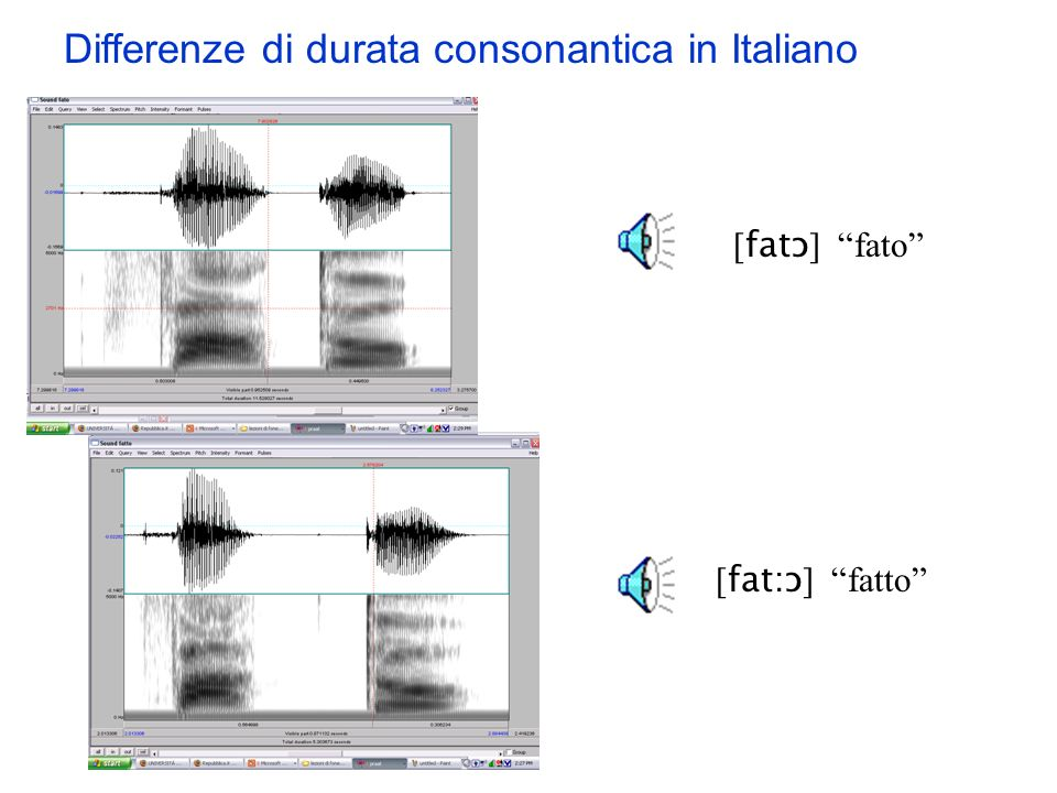 Differenze di durata consonantica in Italiano