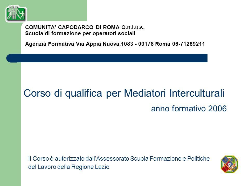 Corso di qualifica per Mediatori Interculturali anno formativo 2006