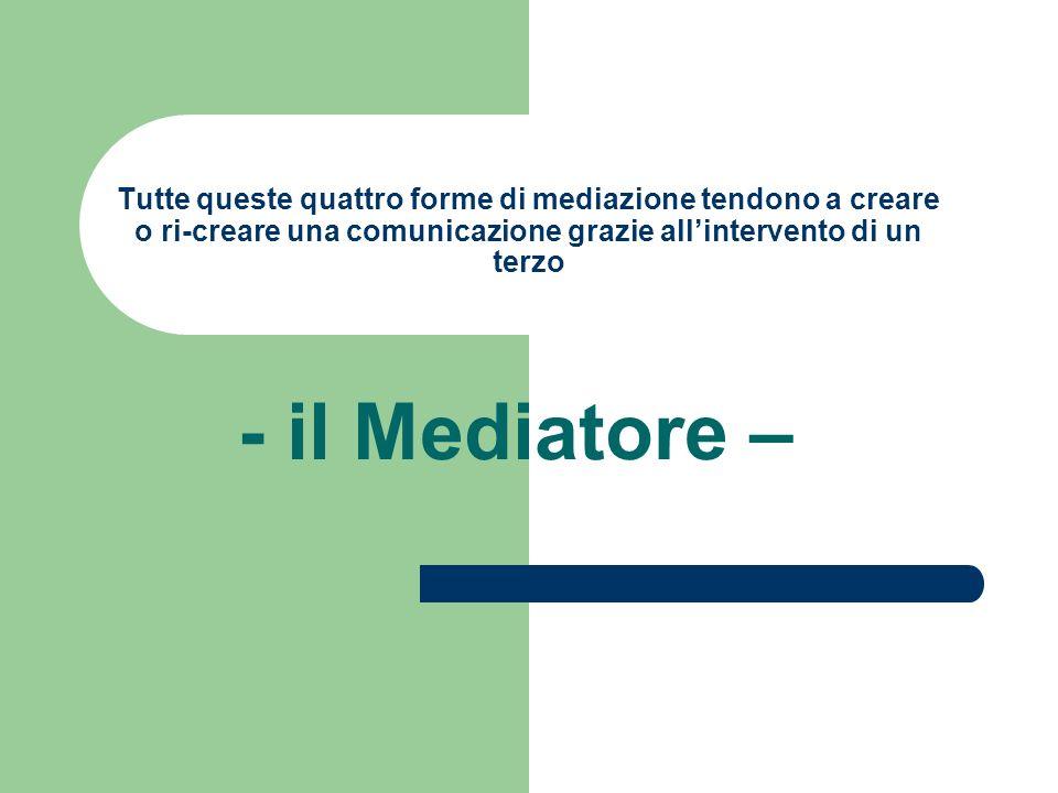 Tutte queste quattro forme di mediazione tendono a creare o ri-creare una comunicazione grazie all'intervento di un terzo