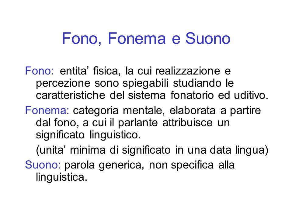 Fono, Fonema e Suono
