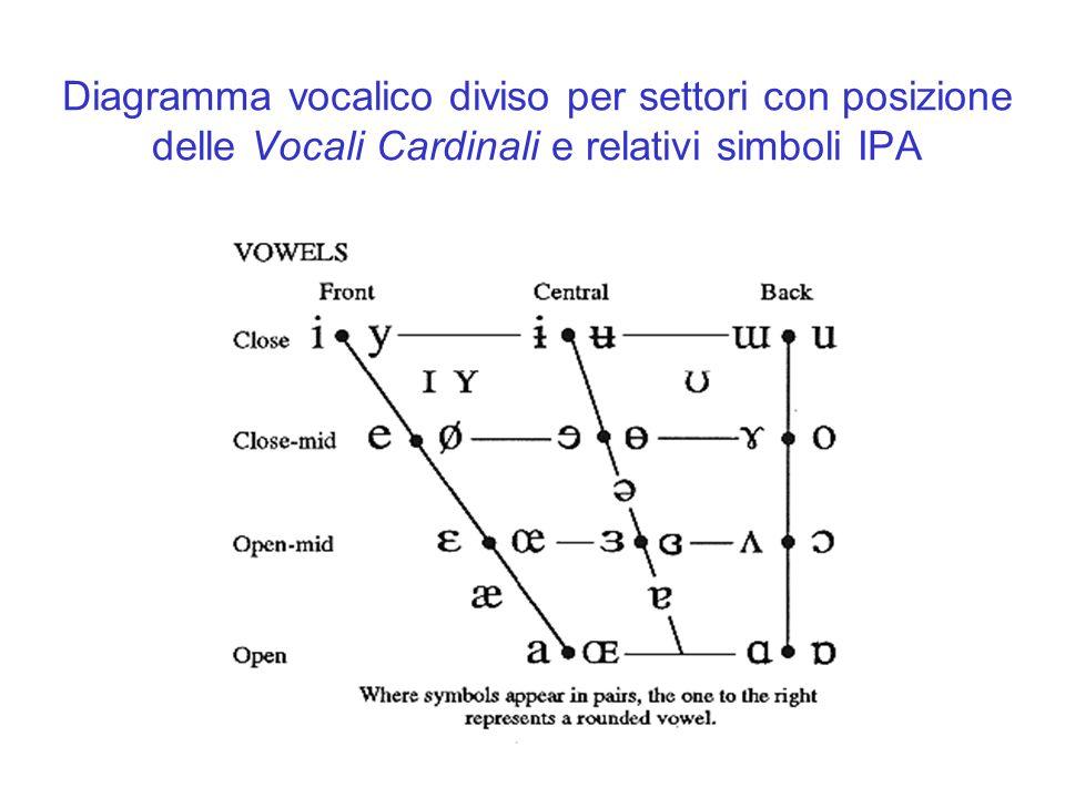 Diagramma vocalico diviso per settori con posizione delle Vocali Cardinali e relativi simboli IPA