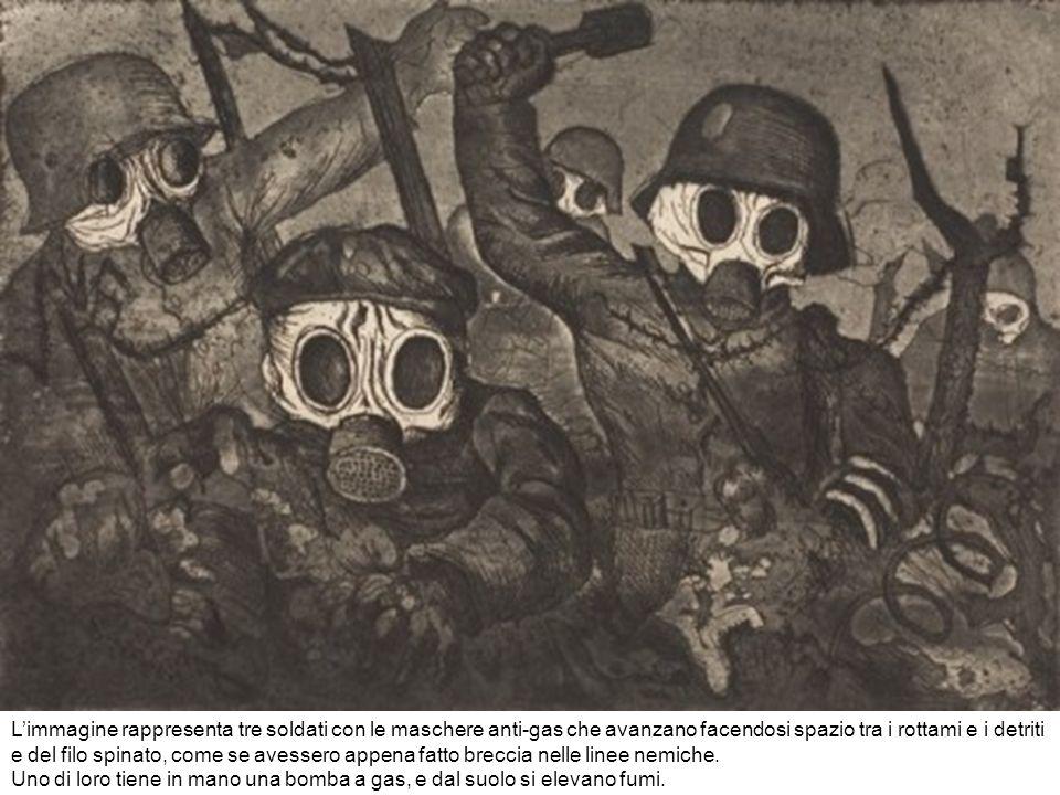 L'immagine rappresenta tre soldati con le maschere anti-gas che avanzano facendosi spazio tra i rottami e i detriti e del filo spinato, come se avessero appena fatto breccia nelle linee nemiche.