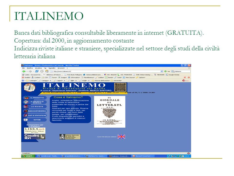 ITALINEMO Banca dati bibliografica consultabile liberamente in internet (GRATUITA).