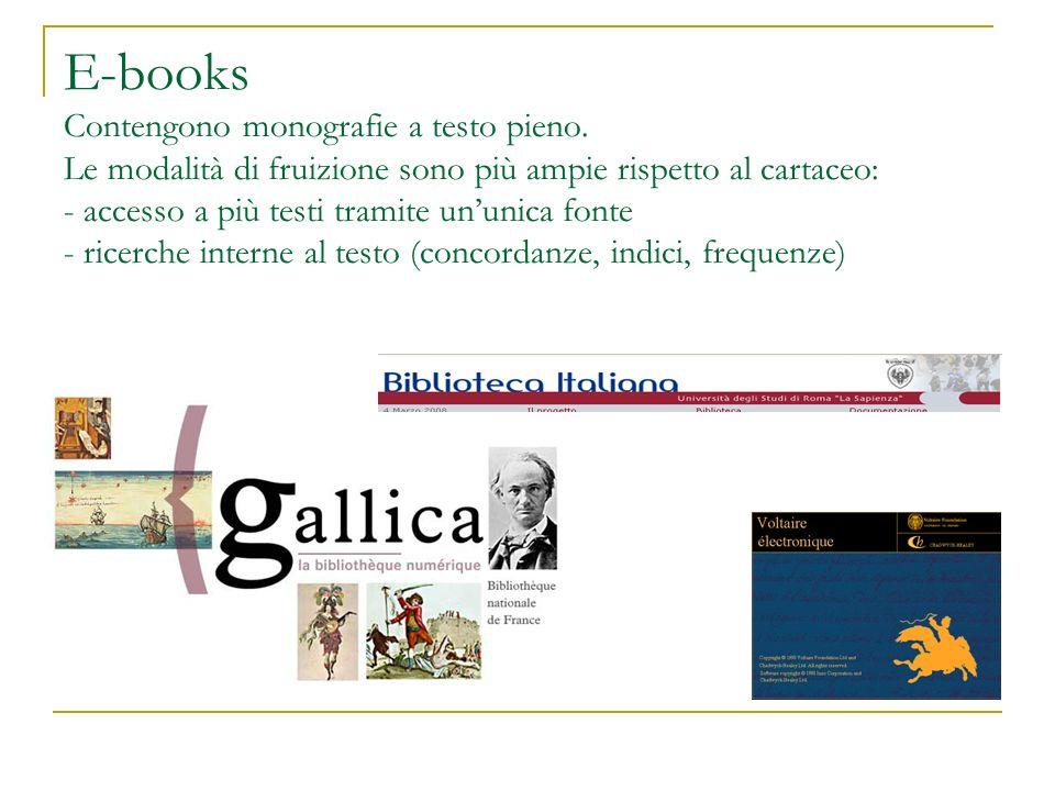 E-books Contengono monografie a testo pieno