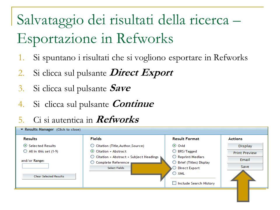 Salvataggio dei risultati della ricerca – Esportazione in Refworks