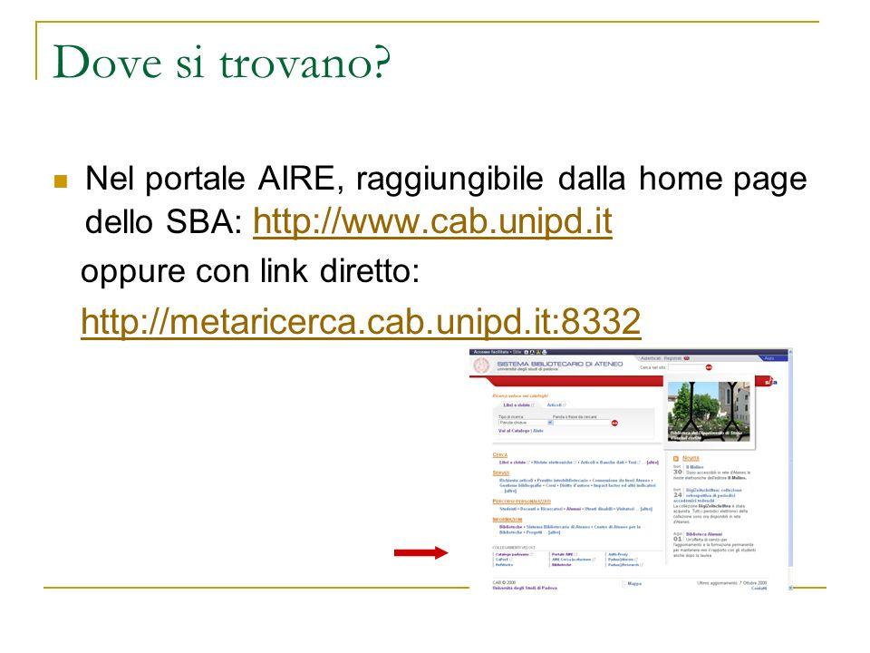 Dove si trovano Nel portale AIRE, raggiungibile dalla home page dello SBA: http://www.cab.unipd.it.