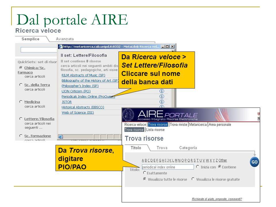 Dal portale AIRE Da Ricerca veloce > Set Lettere/Filosofia