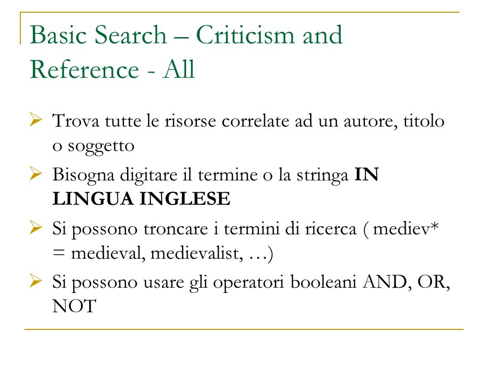 Basic Search – Criticism and Reference - All