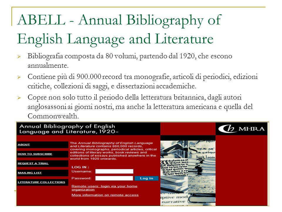 ABELL - Annual Bibliography of English Language and Literature