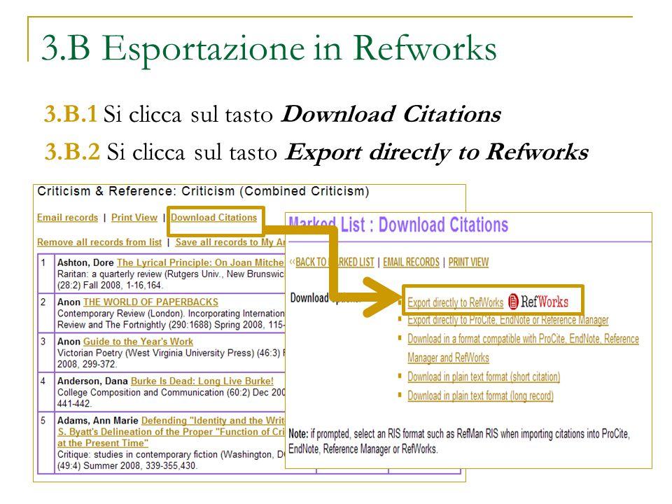 3.B Esportazione in Refworks