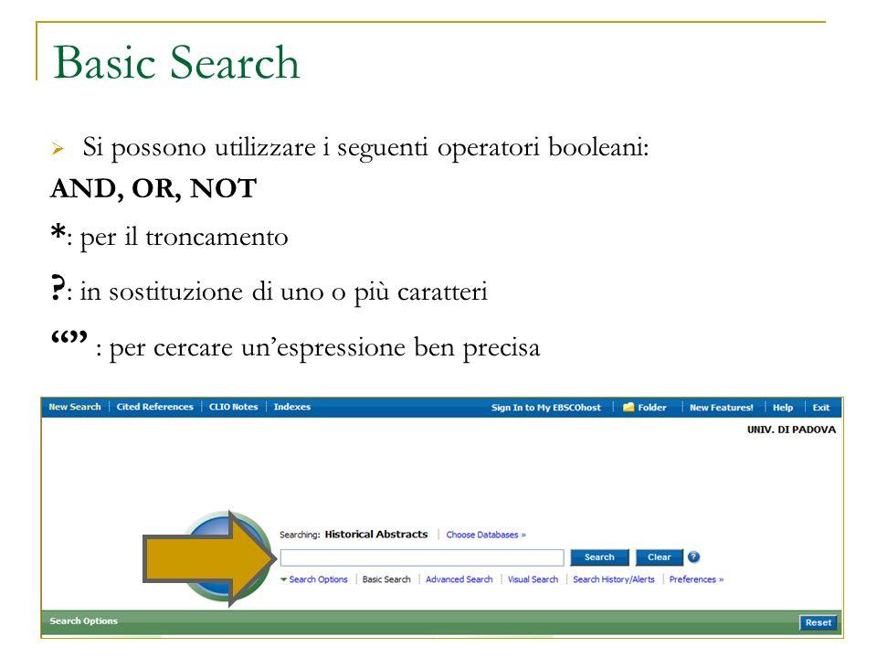 Basic Search : in sostituzione di uno o più caratteri