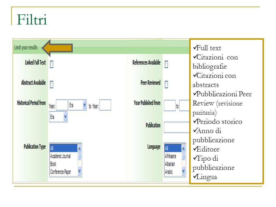 Filtri Full text Citazioni con bibliografie Citazioni con abstracts