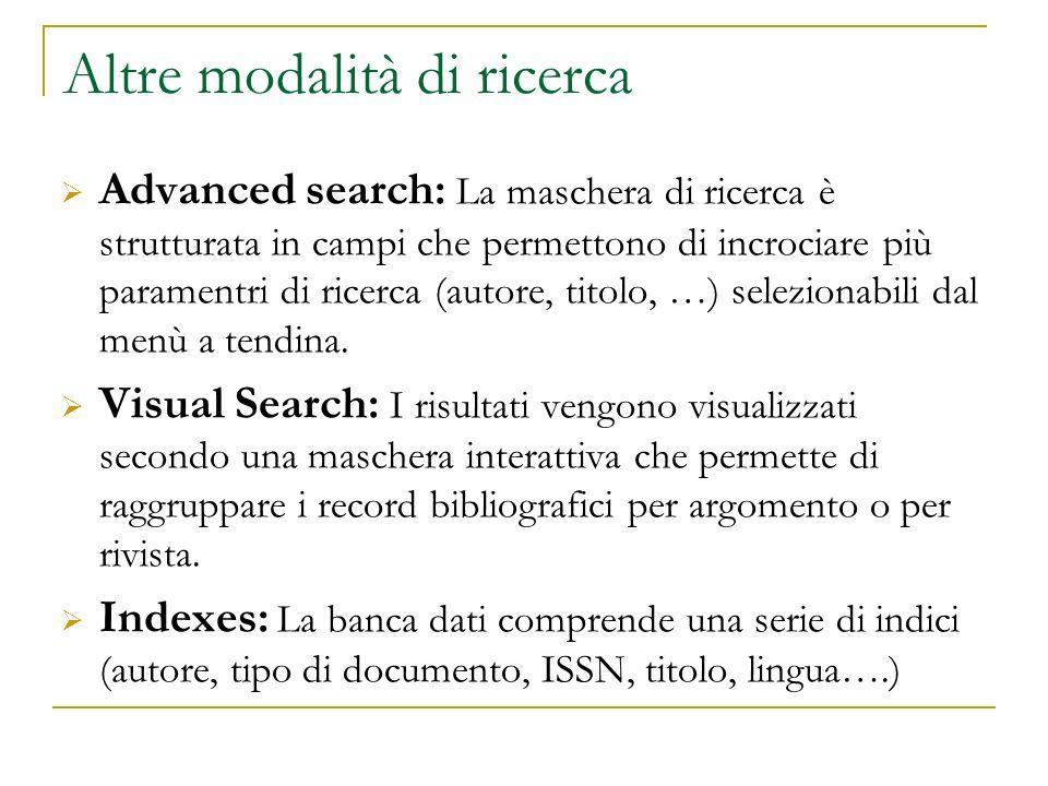 Altre modalità di ricerca
