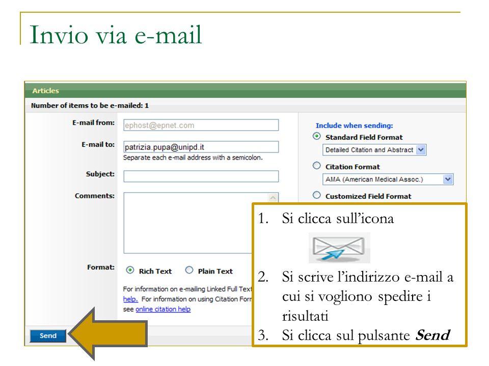 Invio via e-mail Si clicca sull'icona