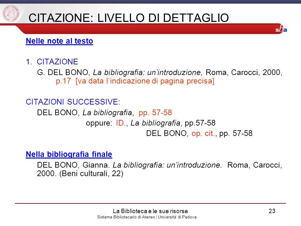 CITAZIONE: LIVELLO DI DETTAGLIO