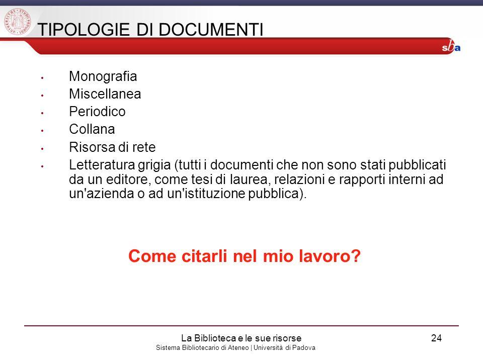 TIPOLOGIE DI DOCUMENTI