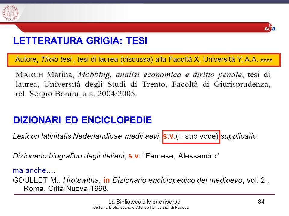 LETTERATURA GRIGIA: TESI